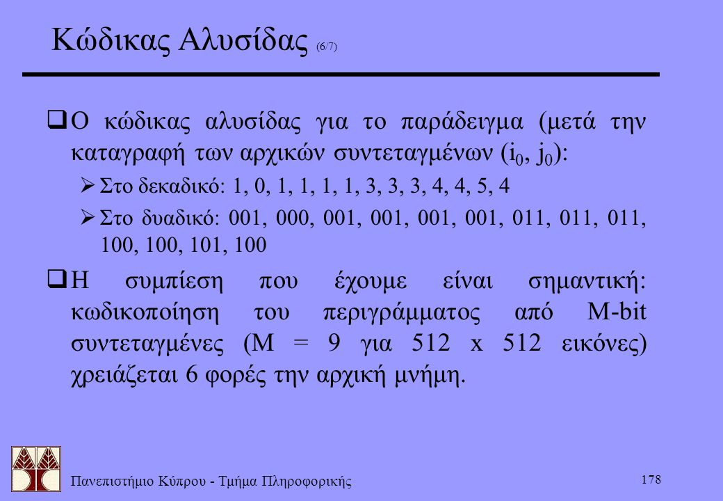 Κώδικας Αλυσίδας (6/7) Ο κώδικας αλυσίδας για το παράδειγμα (μετά την καταγραφή των αρχικών συντεταγμένων (i0, j0):