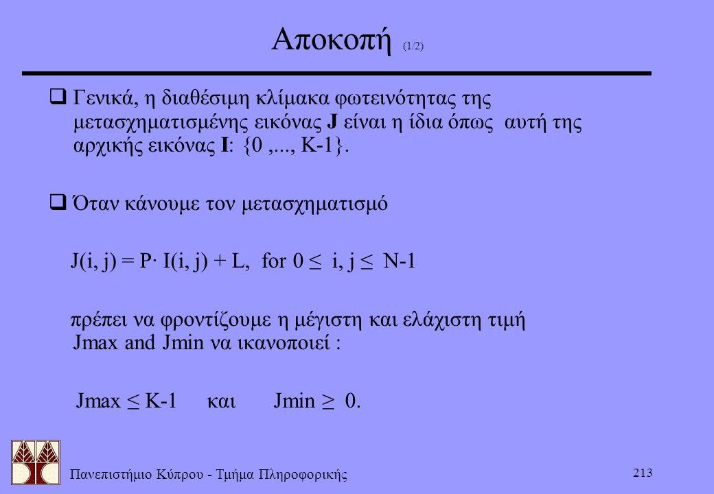Αποκοπή (1/2) Γενικά, η διαθέσιμη κλίμακα φωτεινότητας της μετασχηματισμένης εικόνας J είναι η ίδια όπως αυτή της αρχικής εικόνας I: {0 ,..., K-1}.