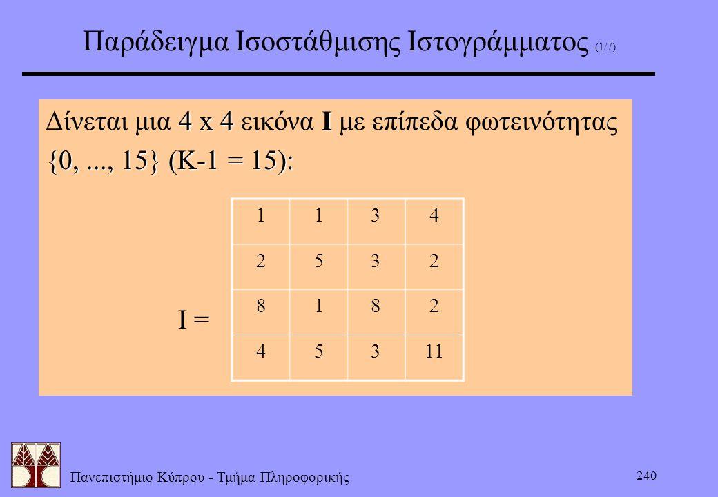 Παράδειγμα Ισοστάθμισης Ιστογράμματος (1/7)