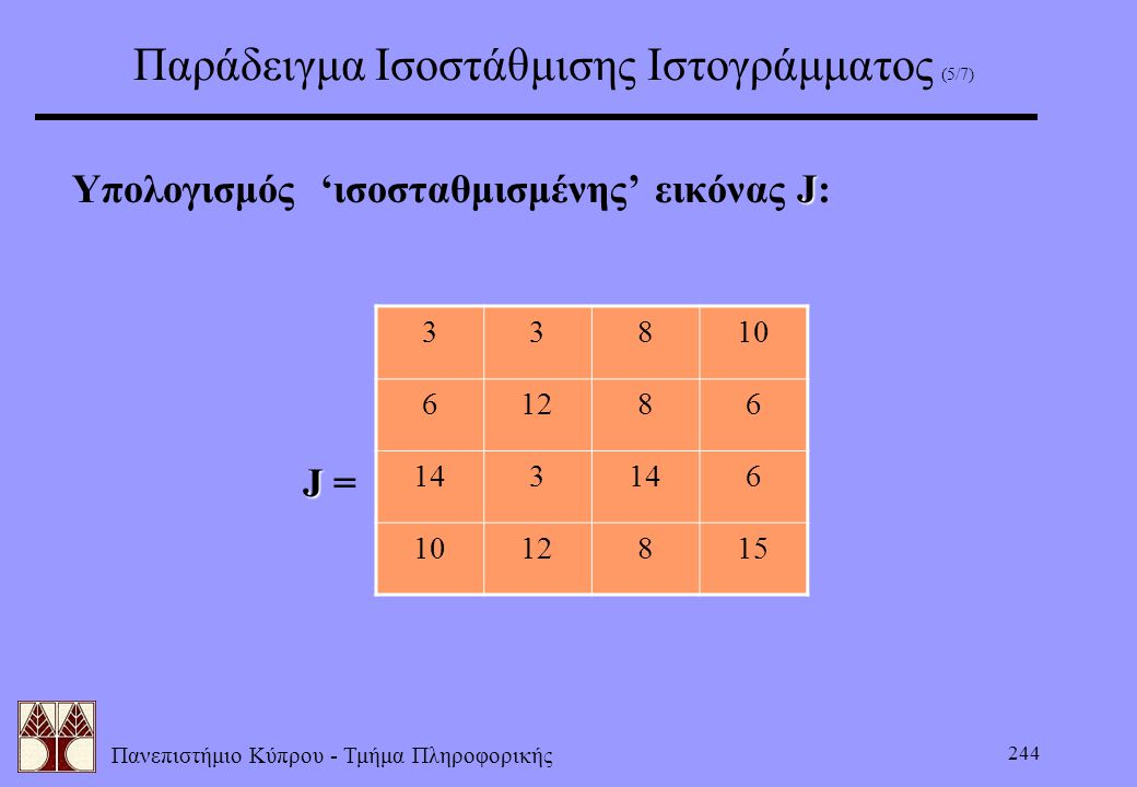 Παράδειγμα Ισοστάθμισης Ιστογράμματος (5/7)