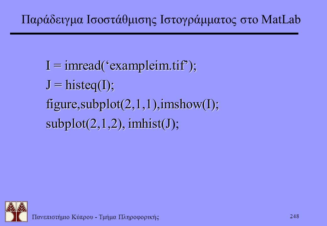 Παράδειγμα Ισοστάθμισης Ιστογράμματος στο ΜatLab