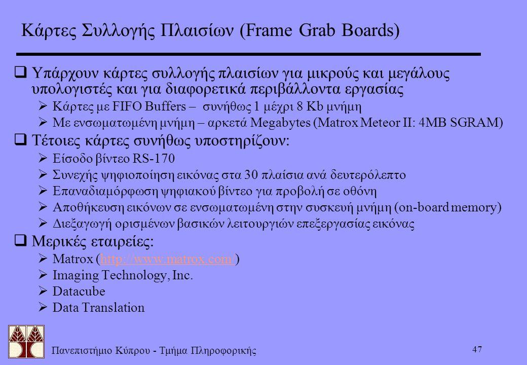 Κάρτες Συλλογής Πλαισίων (Frame Grab Boards)