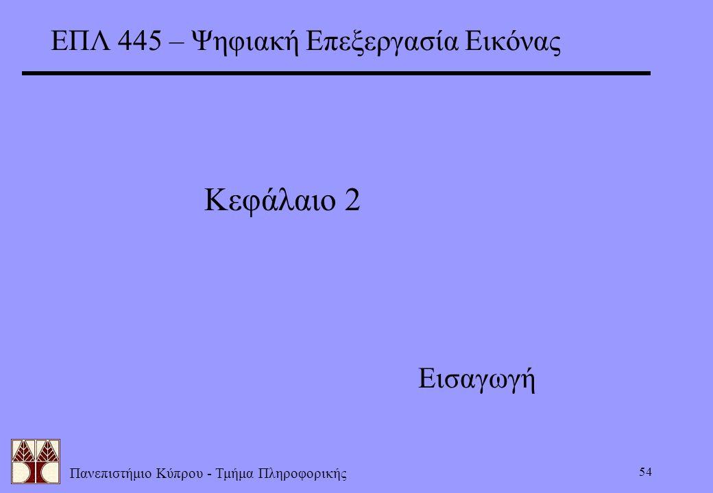 ΕΠΛ 445 – Ψηφιακή Επεξεργασία Εικόνας