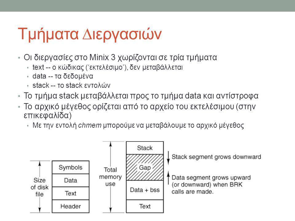 Τμήματα ∆ιεργασιών Οι διεργασίες στο Minix 3 χωρίζονται σε τρία τμήματα. text -- ο κώδικας ('εκτελέσιμο'), δεν μεταβάλλεται.