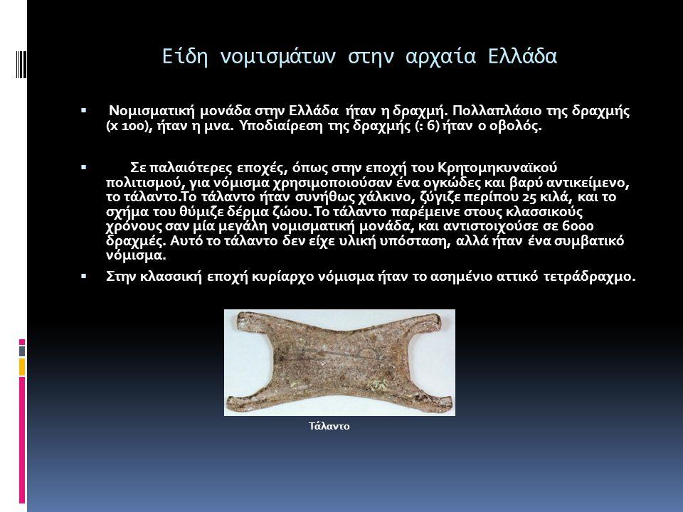 Είδη νομισμάτων στην αρχαία Ελλάδα