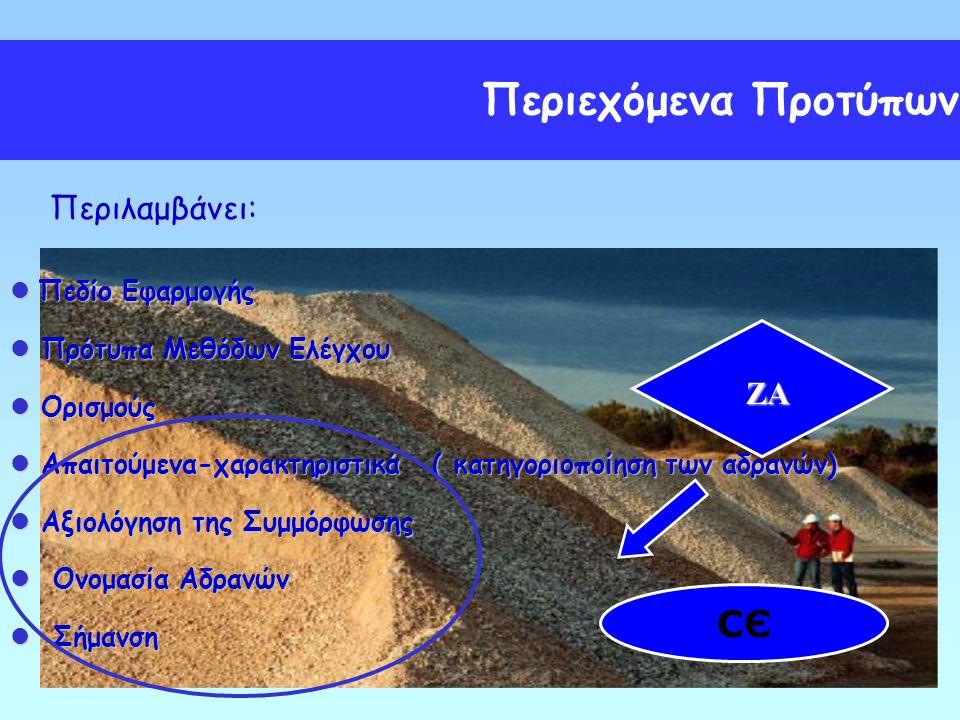 Περιεχόμενα Προτύπων СЄ Περιλαμβάνει: ZA Πεδίο Εφαρμογής