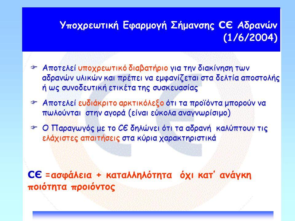 Υποχρεωτική Εφαρμογή Σήμανσης СЄ Αδρανών (1/6/2004)