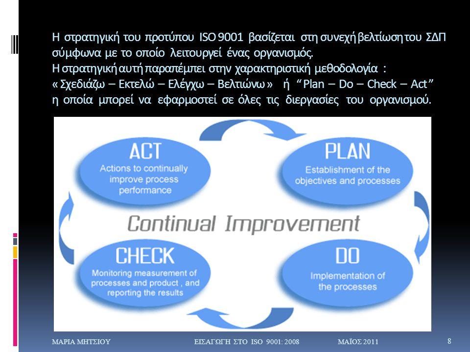Η στρατηγική του προτύπου ISO 9001 βασίζεται στη συνεχή βελτίωση του ΣΔΠ σύμφωνα με το οποίο λειτουργεί ένας οργανισμός. Η στρατηγική αυτή παραπέμπει στην χαρακτηριστική μεθοδολογία : « Σχεδιάζω – Εκτελώ – Ελέγχω – Βελτιώνω » ή Plan – Do – Check – Act η οποία μπορεί να εφαρμοστεί σε όλες τις διεργασίες του οργανισμού.