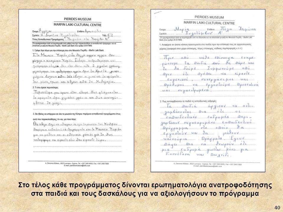 Στο τέλος κάθε προγράμματος δίνονται ερωτηματολόγια ανατροφοδότησης στα παιδιά και τους δασκάλους για να αξιολογήσουν το πρόγραμμα