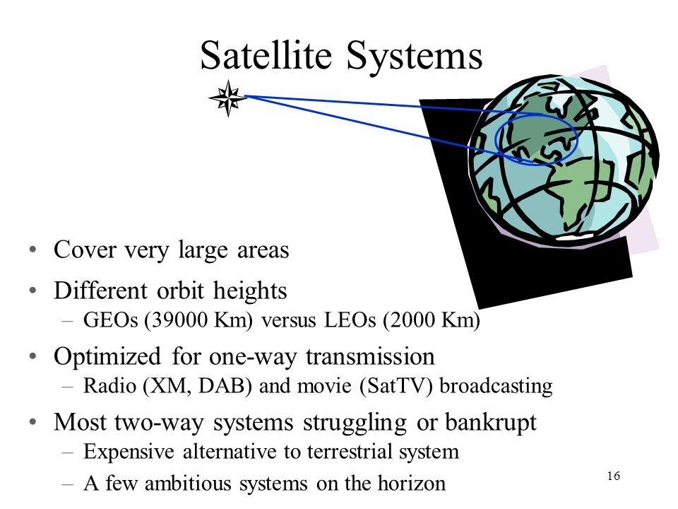 Satellite Systems Cover very large areas Different orbit heights