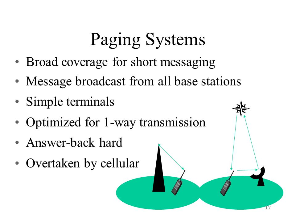 Paging Systems Broad coverage for short messaging