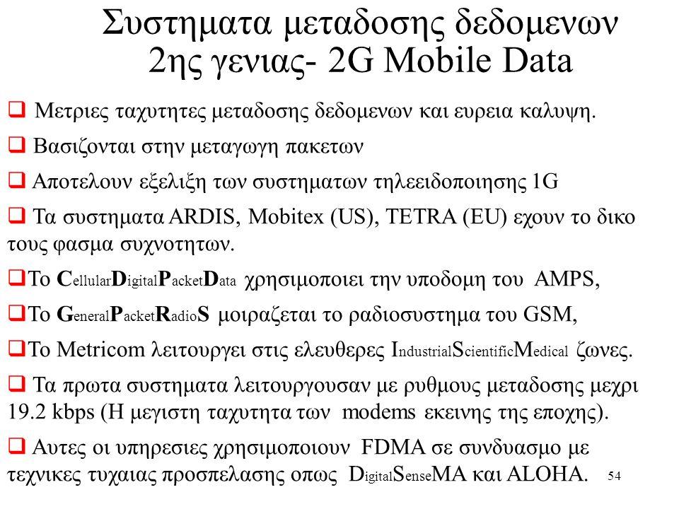 Συστηματα μεταδοσης δεδομενων 2ης γενιας- 2G Mobile Data