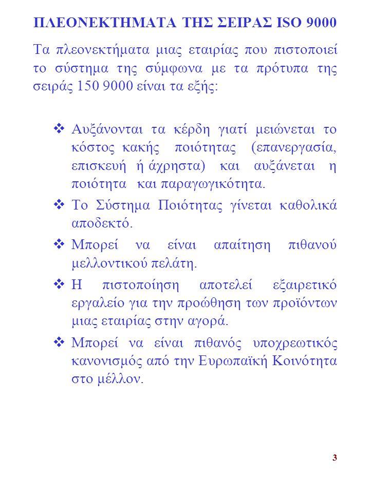 ΠΛΕΟΝΕΚΤΗΜΑΤΑ ΤΗΣ ΣΕΙΡΑΣ ISO 9000