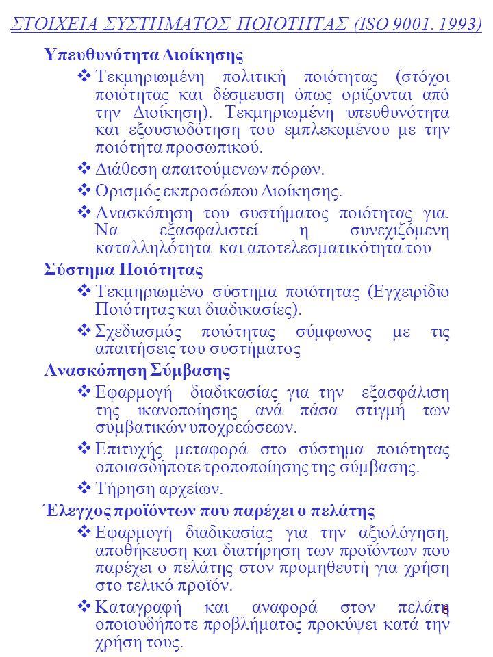 ΣΤΟΙΧΕΙΑ ΣΥΣΤΗΜΑΤΟΣ ΠΟΙΟΤΗΤΑΣ (ISO 9001. 1993)