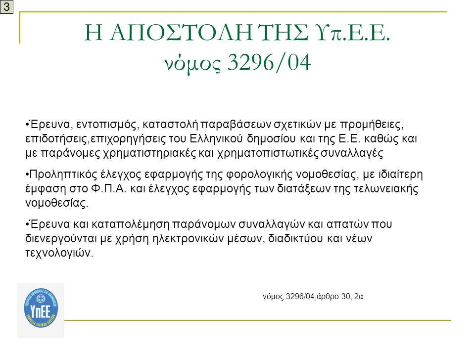 Η ΑΠΟΣΤΟΛΗ ΤΗΣ Υπ.Ε.Ε. νόμος 3296/04
