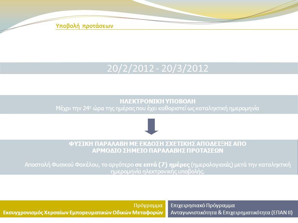 20/2/2012 - 20/3/2012 Υποβολή προτάσεων ΗΛΕΚΤΡΟΝΙΚΗ ΥΠΟΒΟΛΗ