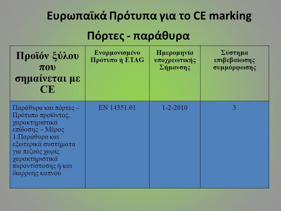 Ευρωπαϊκά Πρότυπα για το CE marking Πόρτες - παράθυρα