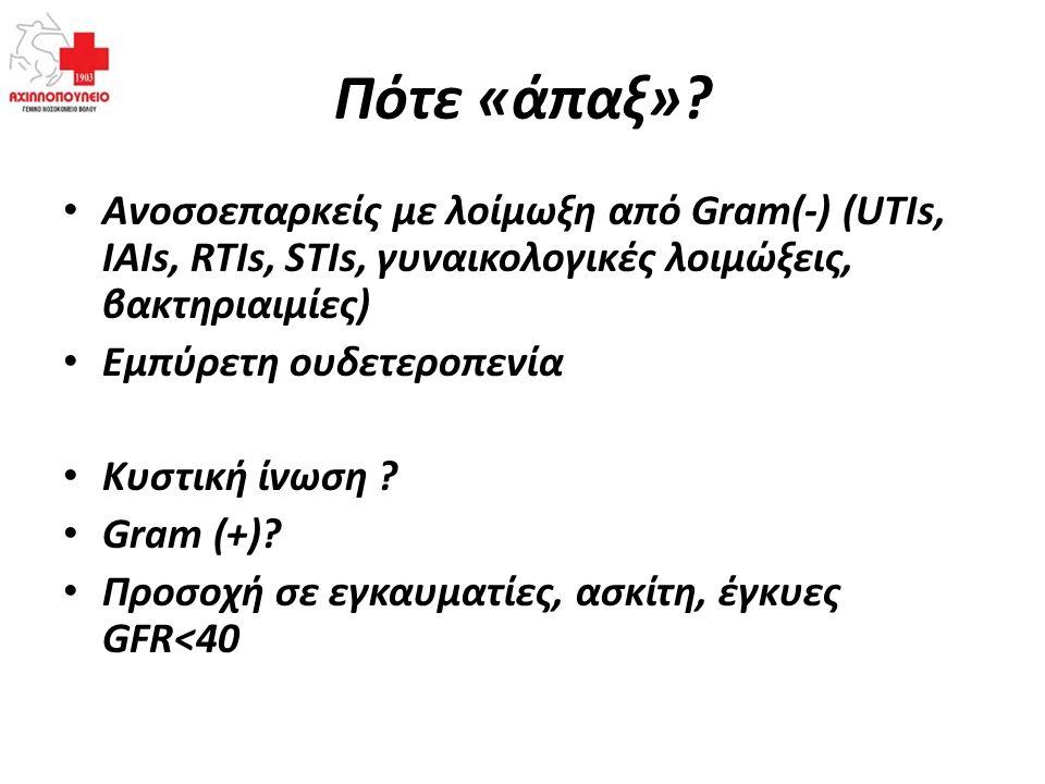 Πότε «άπαξ» Ανοσοεπαρκείς με λοίμωξη από Gram(-) (UTIs, IAIs, RTIs, STIs, γυναικολογικές λοιμώξεις, βακτηριαιμίες)