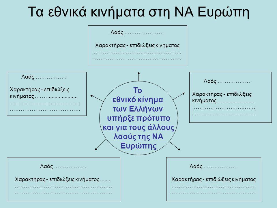 Τα εθνικά κινήματα στη ΝΑ Ευρώπη