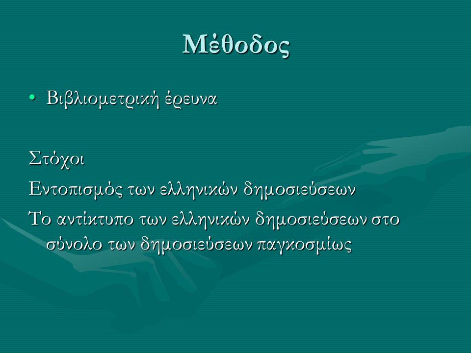 Μέθοδος Βιβλιομετρική έρευνα Στόχοι