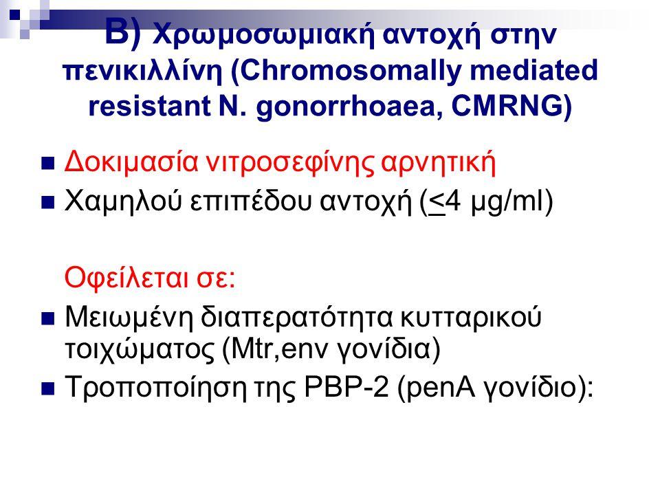 B) Χρωμοσωμιακή αντοχή στην πενικιλλίνη (Chromosomally mediated resistant N. gonorrhoaea, CMRNG)