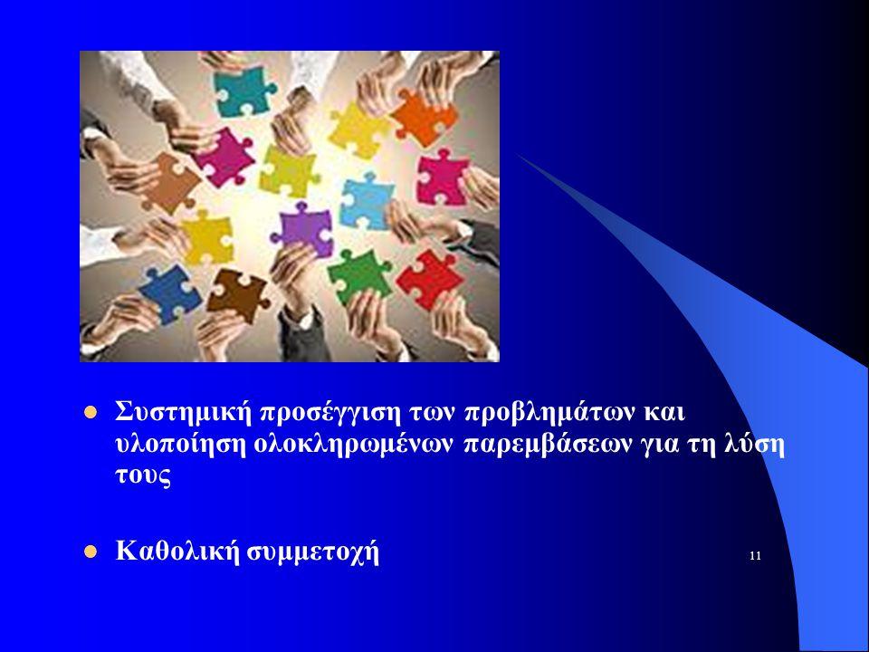 Συστημική προσέγγιση των προβλημάτων και υλοποίηση ολοκληρωμένων παρεμβάσεων για τη λύση τους