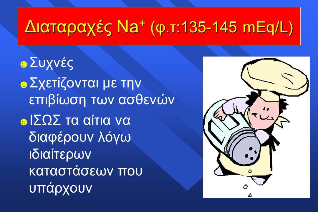 Διαταραχές Νa+ (φ.τ:135-145 mEq/L)