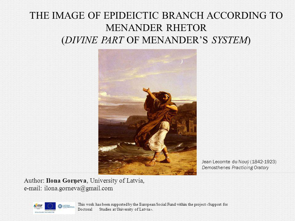 The image of epideictic branch according to menander rhetor (divine part of menander's system)