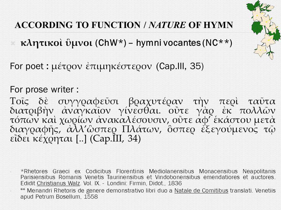 According to function / nature of hymn