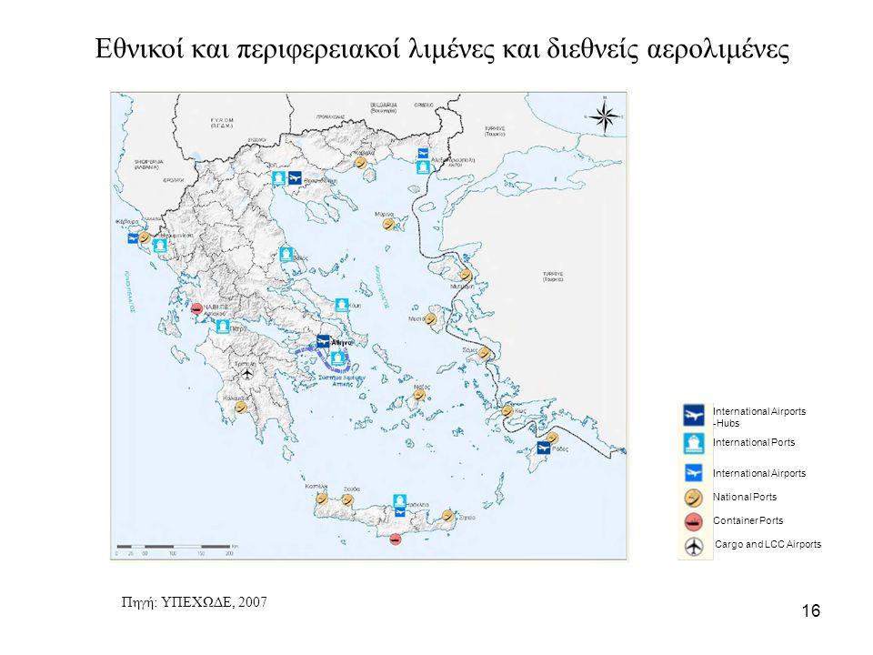 Εθνικοί και περιφερειακοί λιμένες και διεθνείς αερολιμένες