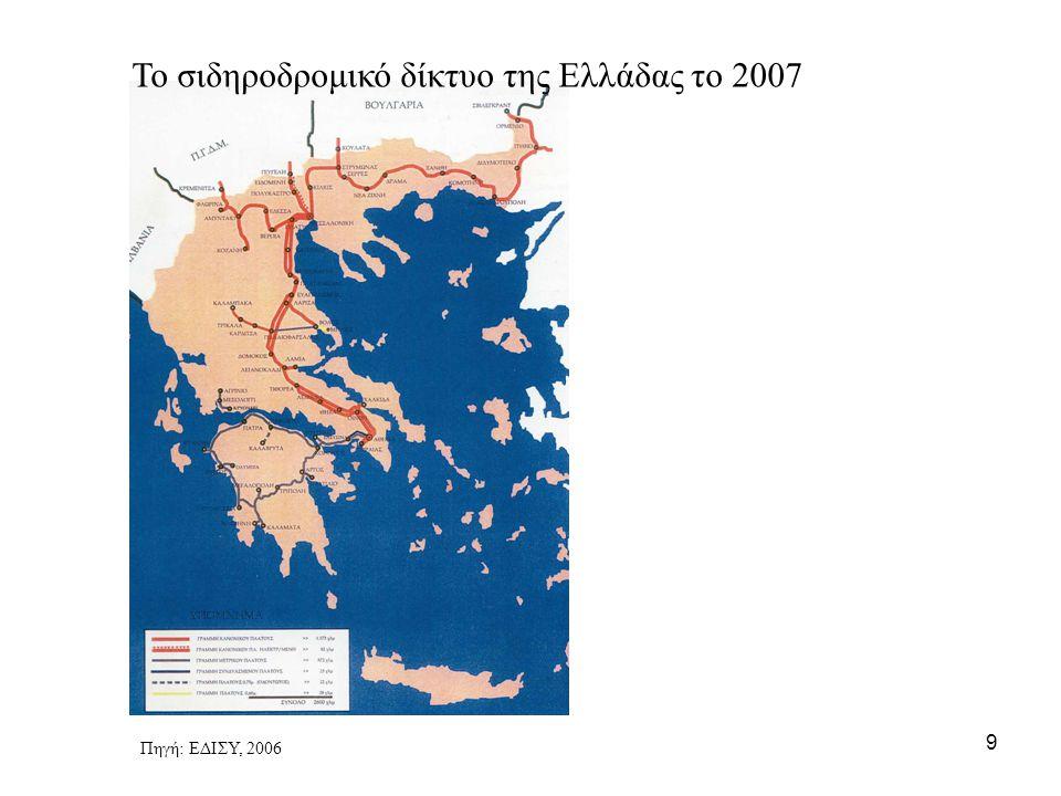 Το σιδηροδρομικό δίκτυο της Ελλάδας το 2007