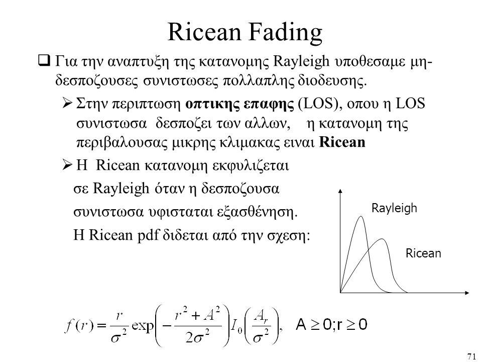 Ricean Fading Για την αναπτυξη της κατανομης Rayleigh υποθεσαμε μη-δεσποζουσες συνιστωσες πολλαπλης διοδευσης.