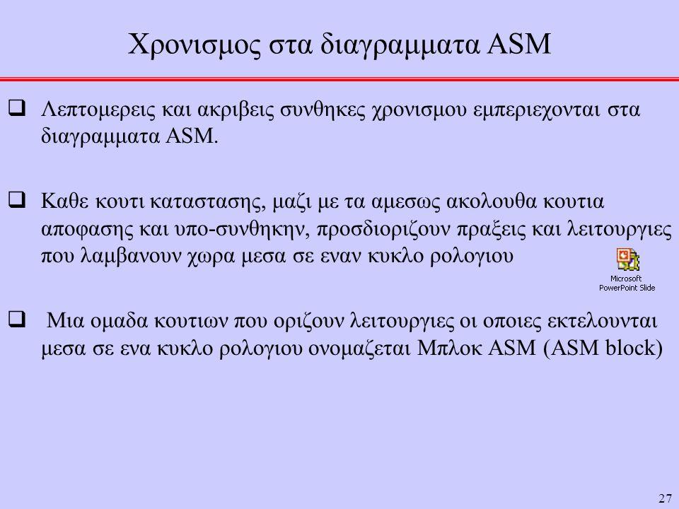Χρονισμος στα διαγραμματα ASM