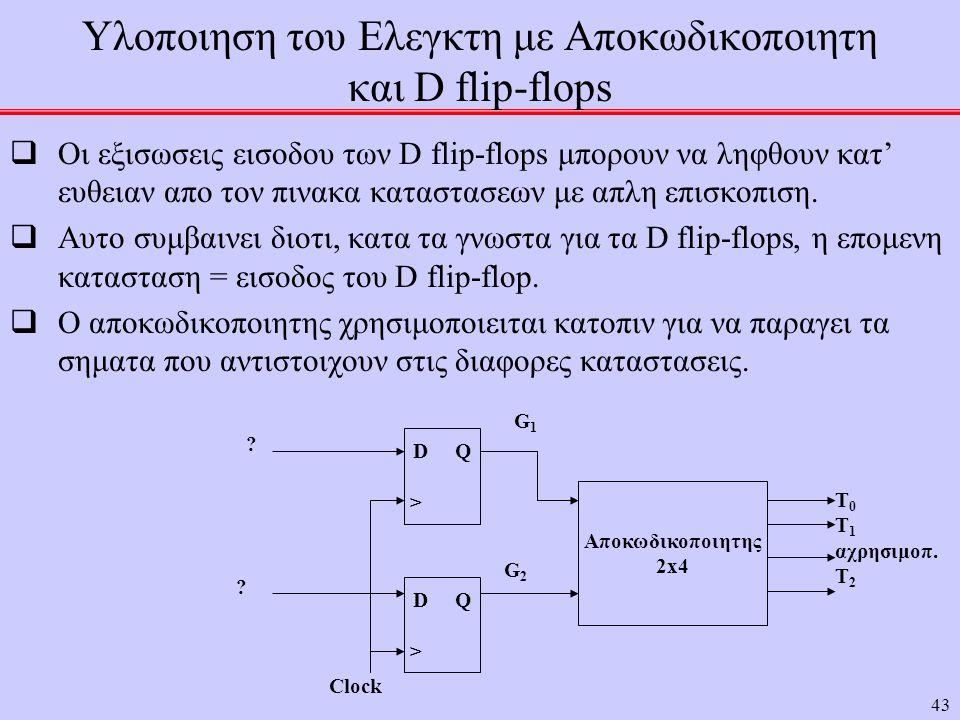 Υλοποιηση του Ελεγκτη με Αποκωδικοποιητη και D flip-flops