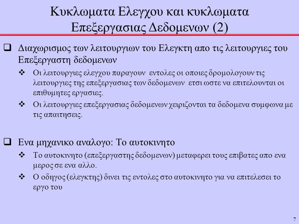 Κυκλωματα Ελεγχου και κυκλωματα Επεξεργασιας Δεδομενων (2)