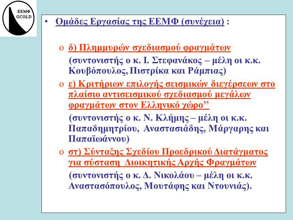 Ομάδες Εργασίας της ΕΕΜΦ (συνέχεια) :