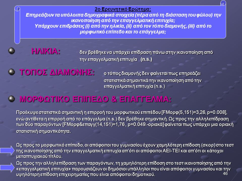 ΜΟΡΦΩΤΙΚΟ ΕΠΙΠΕΔΟ & ΕΠΑΓΓΕΛΜΑ: