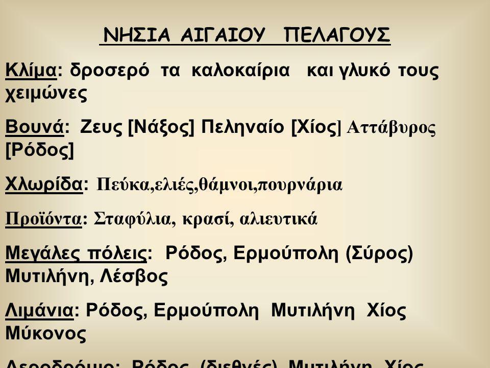 ΝΗΣΙΑ ΑΙΓΑΙΟΥ ΠΕΛΑΓΟΥΣ