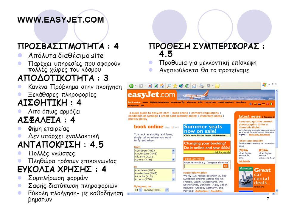 WWW.EASYJET.COM ΠΡΟΣΒΑΣΙΤΜΟΤΗΤΑ : 4 ΑΠΟΔΟΤΙΚΟΤΗΤΑ : 3 ΑΙΣΘΗΤΙΚΗ : 4