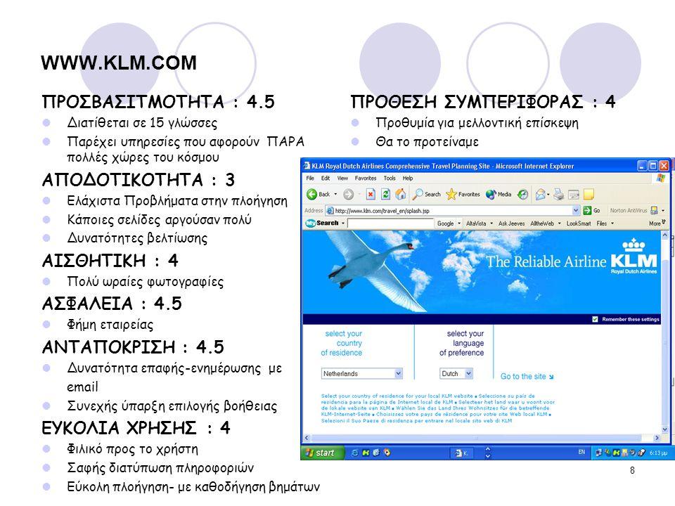 WWW.KLM.COM ΠΡΟΣΒΑΣΙΤΜΟΤΗΤΑ : 4.5 ΑΠΟΔΟΤΙΚΟΤΗΤΑ : 3 ΑΙΣΘΗΤΙΚΗ : 4