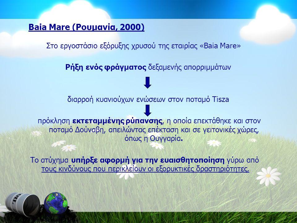 Baia Mare (Ρουμανία, 2000) Στο εργοστάσιο εξόρυξης χρυσού της εταιρίας «Baia Mare» Ρήξη ενός φράγματος δεξαμενής απορριμμάτων.