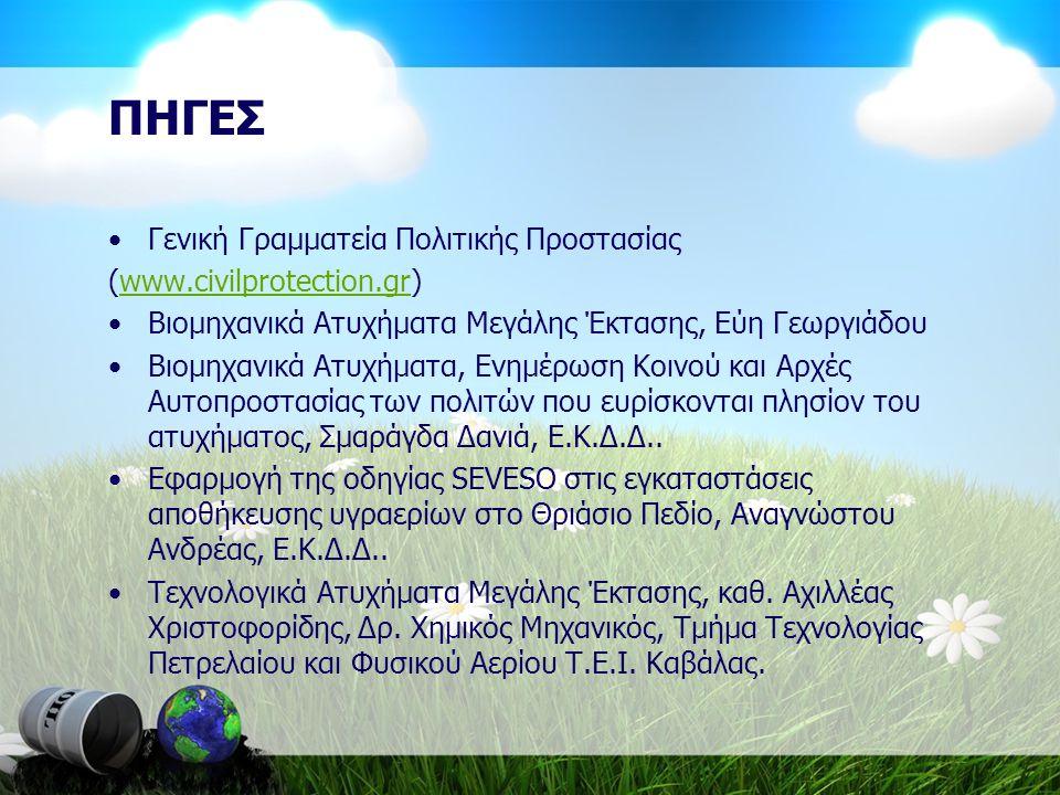 ΠΗΓΕΣ Γενική Γραμματεία Πολιτικής Προστασίας (www.civilprotection.gr)