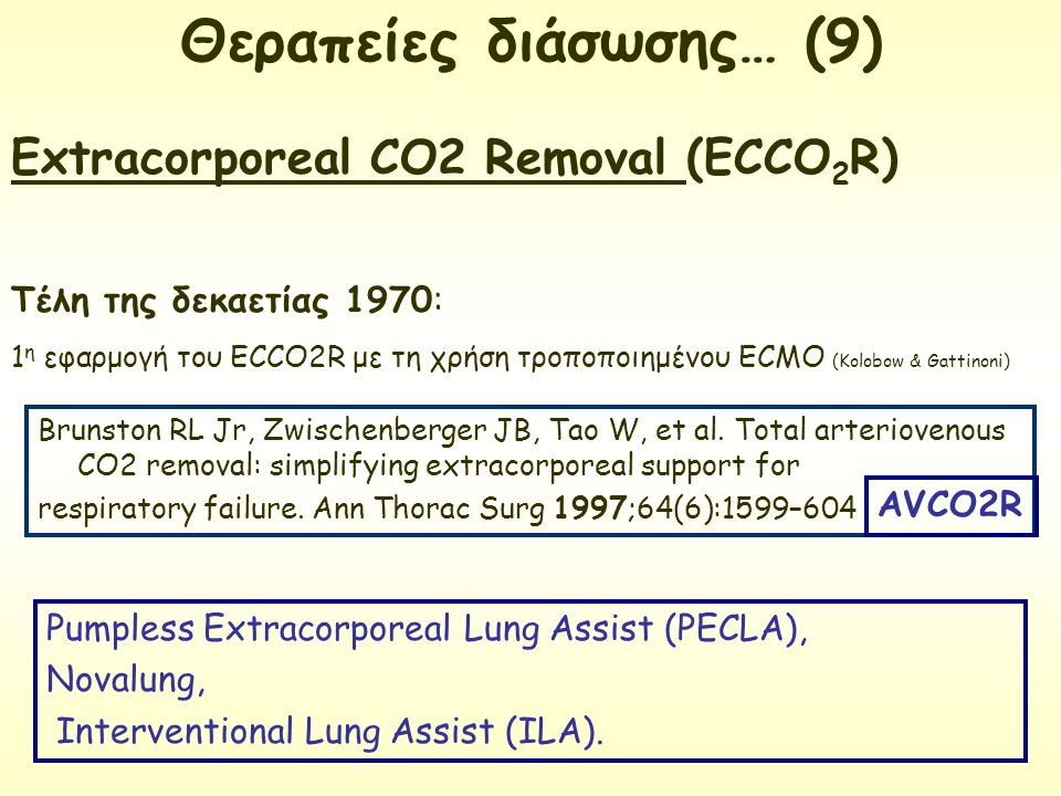 Extracorporeal CO2 Removal (ECCO2R)