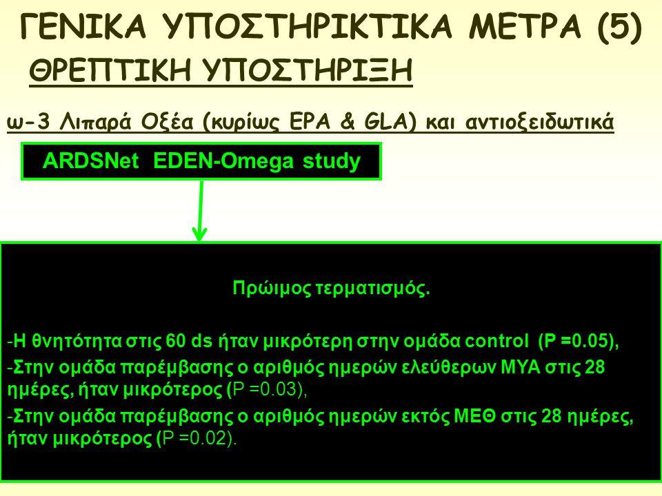 ΓΕΝΙΚΑ ΥΠΟΣΤΗΡΙΚΤΙΚΑ ΜΕΤΡΑ (5) ARDSNet EDEN-Omega study
