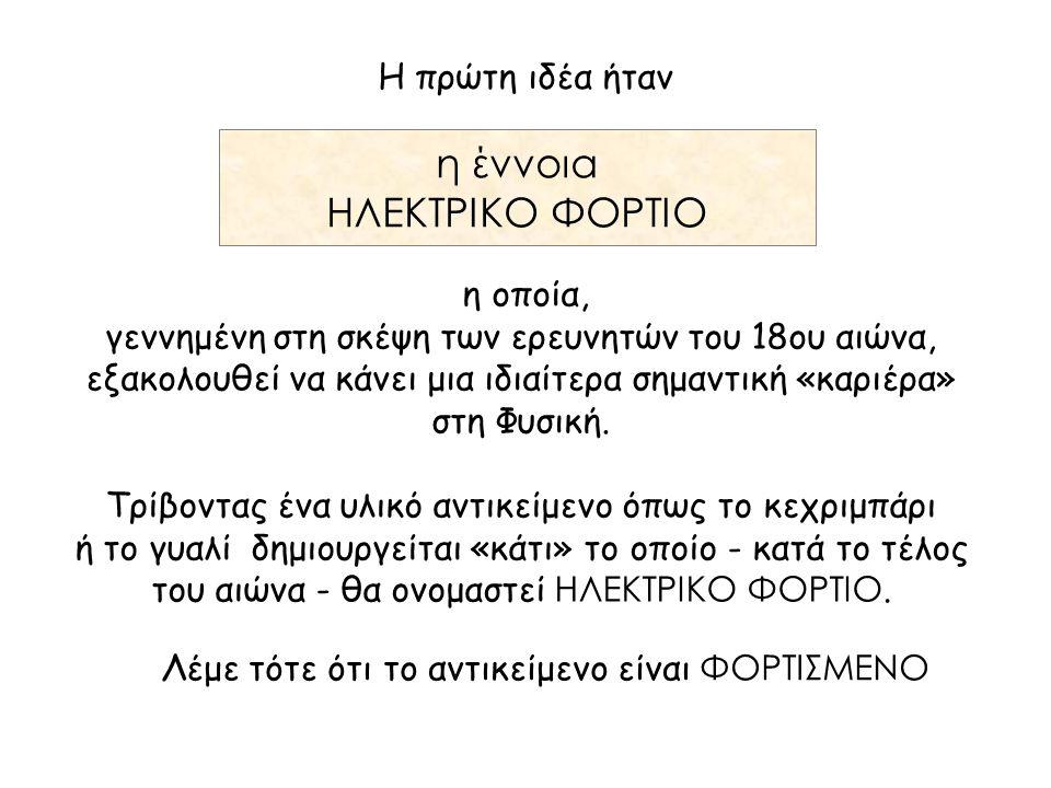 η έννοια ΗΛΕΚΤΡΙΚΟ ΦΟΡΤΙΟ