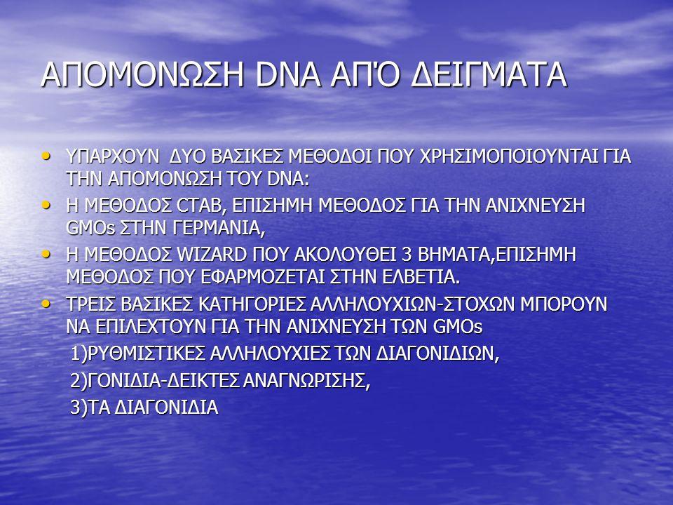 ΑΠΟΜΟΝΩΣΗ DNA ΑΠΌ ΔΕΙΓΜΑΤΑ