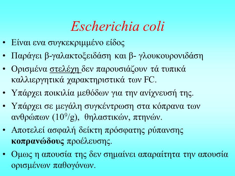 Escherichia coli Eίναι ενα συγκεκριμμένο είδος