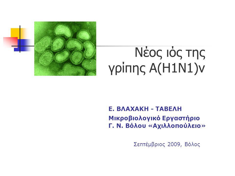 Νέος ιός της. γρίπης Α(Η1Ν1)v. Ε. ΒΛΑΧΑΚΗ - ΤΑΒΕΛΗ