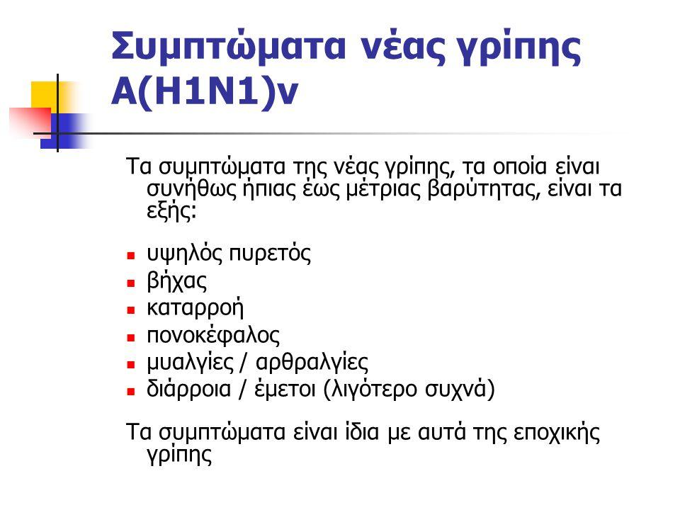 Συμπτώματα νέας γρίπης Α(Η1Ν1)v