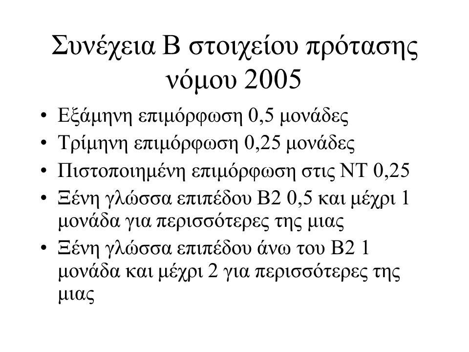 Συνέχεια Β στοιχείου πρότασης νόμου 2005